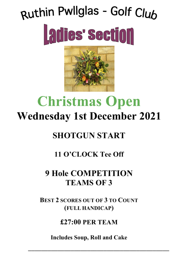 Ladies Christmas Open - Course Closed 11am - 2pm